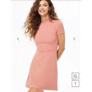 Pink Mock Neck A Line Dress